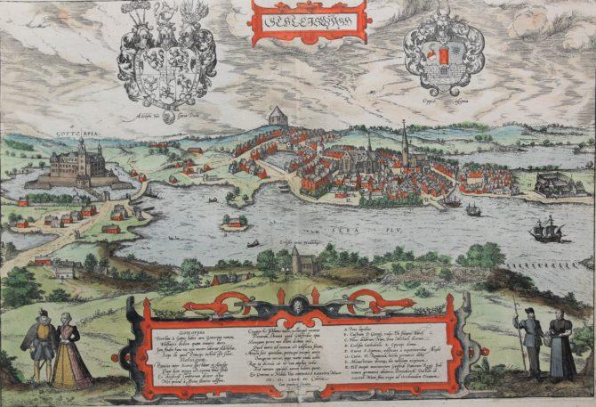 old map of Schlesiwig by Braun Hogenberg, 1588