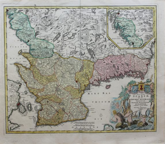 Old map of Southern Sweden by Homann, ca. 1710