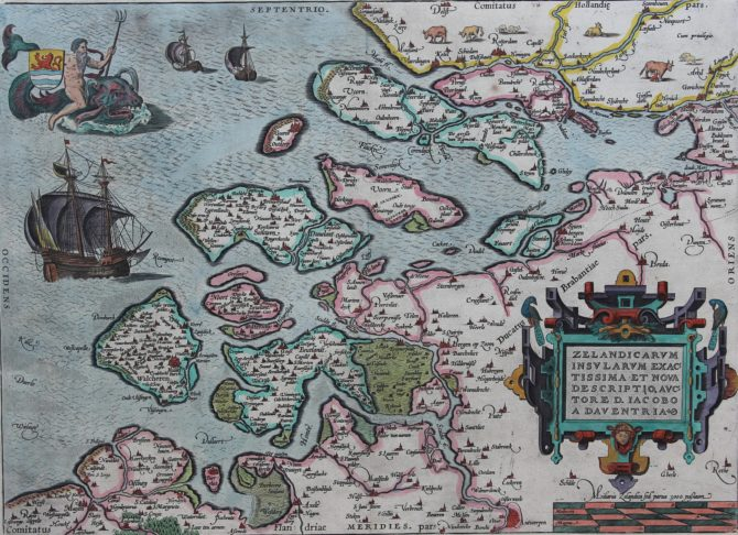 Old map of Zeeland by Ortelius, 1570 or later
