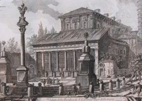 Old view of S. Lorenzo basilica (Rome) by Piranesi, 1749