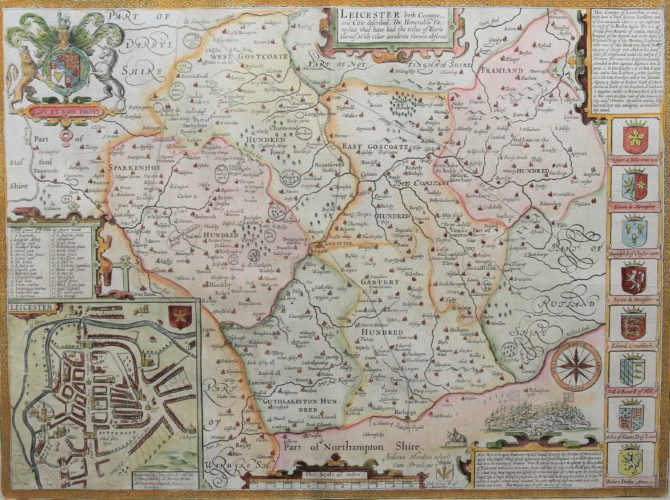 Old map of Leicester by Speed/Cluer Dicey 1754