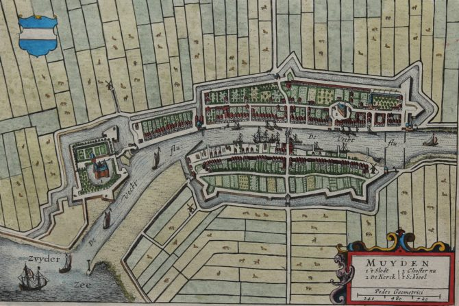 Old map by Joan Blaeu of Muiden and the Muiderslot, 1649 or 1652