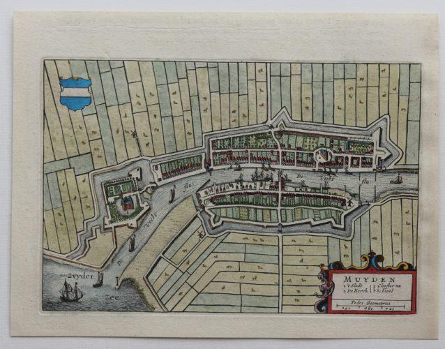 Old map Muiden and Muiderslot by Joan Blaeu 1649/1652