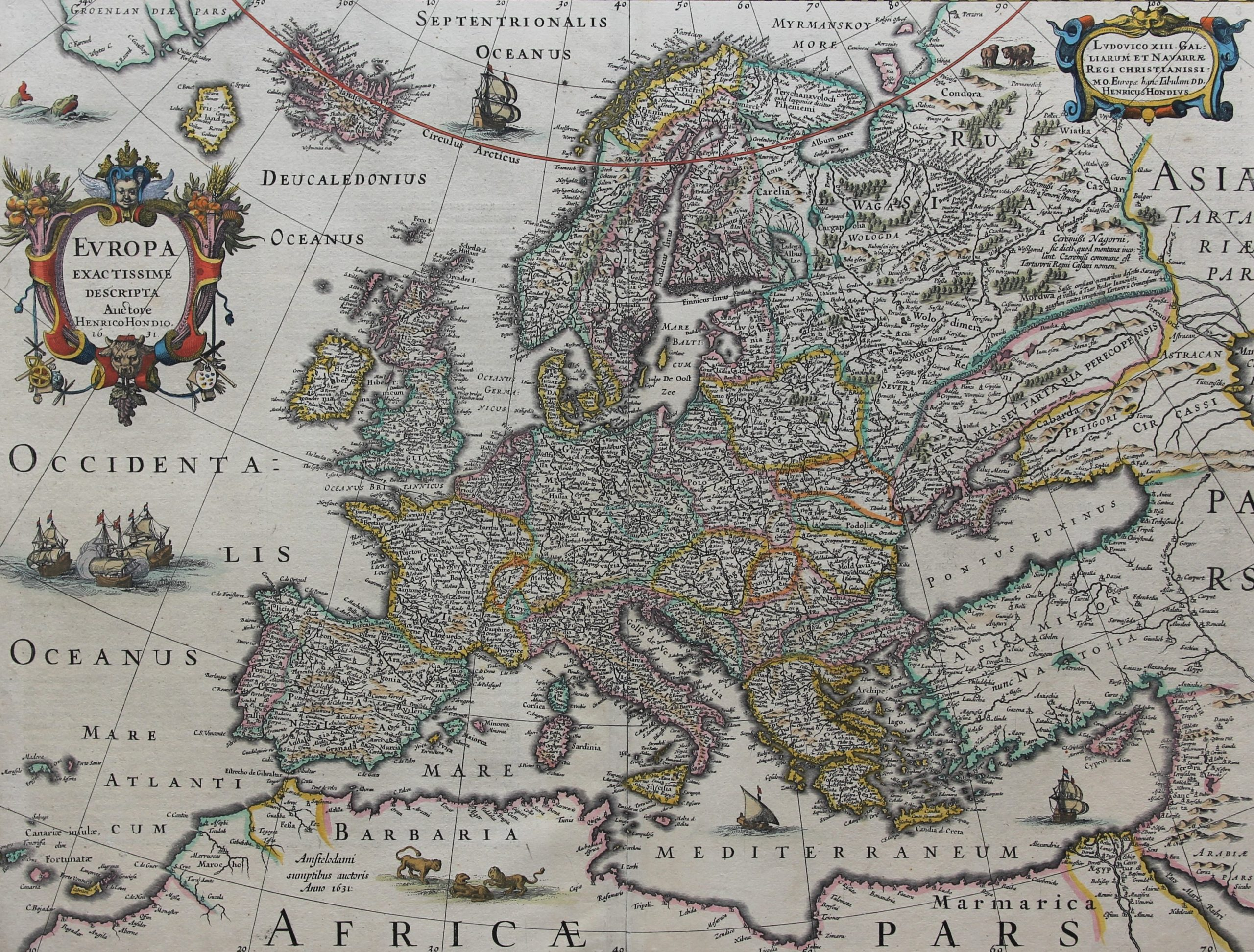 OLd and superb map of Europe (1631) by Henricus Hondiuss puslished in 1633