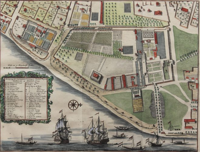 Old map of Dutch India Company settlement of Hoegly, Hooghly or Chinsura by Valentyn, 1726