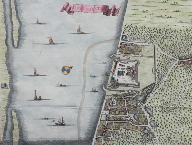 Old coloroued map of Jaffna by Valentyn, 1726