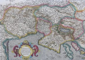 Superb old map of Friuli, Krain and Istria by Mercator (1589), published by J. Hondius IIIstr