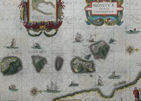 Superb map of the Moluccas, the spice islands with Timor, Ternate and Tidoreby Joan Blaeu, 1644