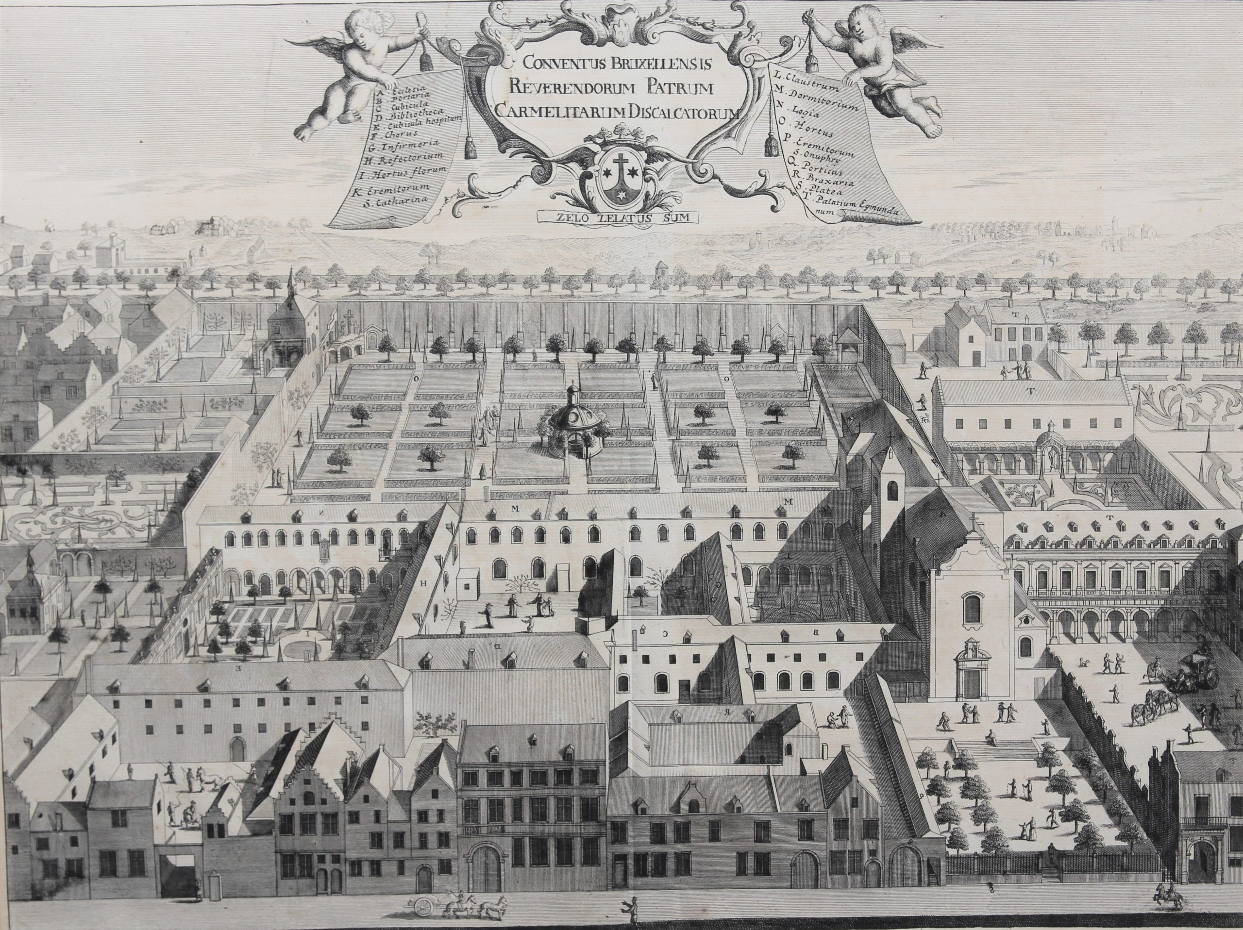 Old view of the convent of the Dicalced Carmelites in Brussels by Sanderus,/Blockhuyzen 1726