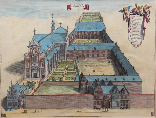 Old view of the Carmelite convent in Antwerpen by Blockhuyzen, 1726