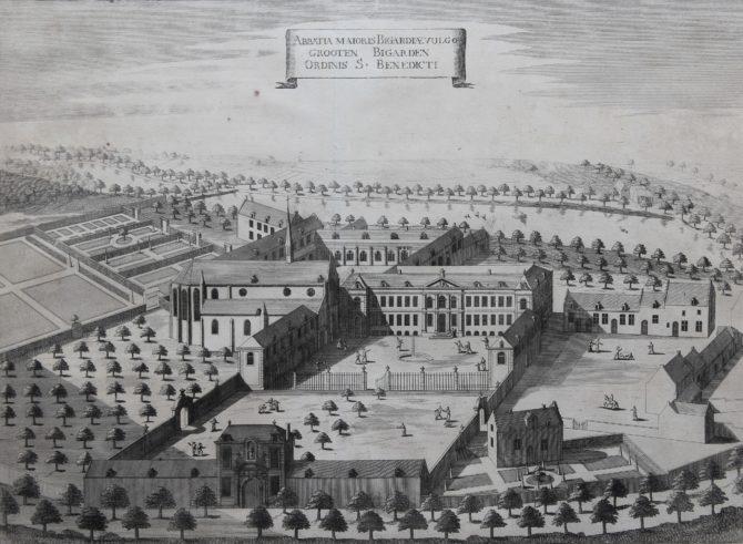 View of Benedictine convent of Groot-Bijgaarden by Sanderus, 1659