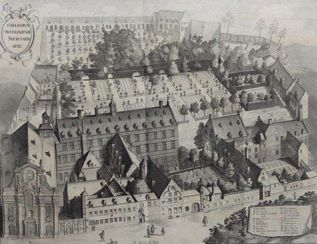Old view of the Jesuit college in Mechelen by Sanderus /Blockhuyzen 1726