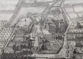 View of Benedictine convent of Vorst (near Brussels) by Sanderus, 1659
