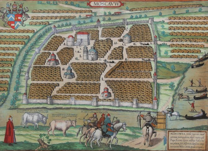 Old map of Moscou by Braun Hogenberg, 1575