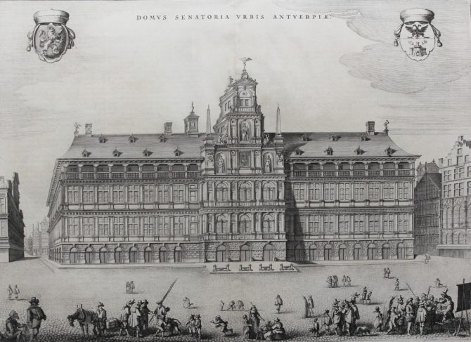 Superb old view etching of the twon hall of Antwerp by Blaeu, published in 1649 in his Town Atlas