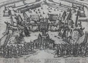 Old Geschichtsblatt of the surrender of the Spanish of the Antwerp citadel by Hogenberg