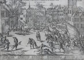 Old Geschichtsblatt of the uprising of the Malcontents in Kortrijk by Hogenberg