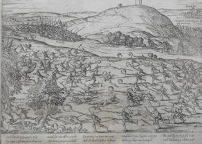 Old Geschichtsblatt of battle at Vissenaken (Tienen) by Hogenberg