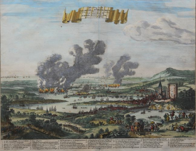 Old colored view of the raid on Chatham by Stoopendaal