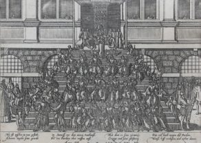 Old view of the General Pardon by Alva on the stairs of the Antwerp Town Hall by Hogenberg