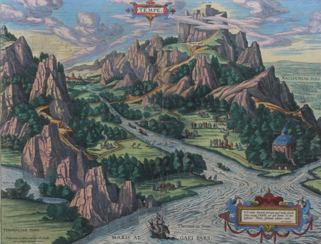 Old map of Tempe with Mount Olympus (Greece) by Ortelius