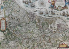 Superb old map of the XVII Provinces with many ships by Willem Blaeu