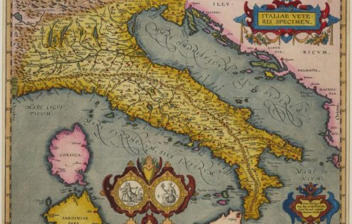 Old map of Ancient Italy by Ortelius (Theatrum Oribs Terrarum; Parergon)