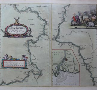 Old map of the Wolga River by Joan Blaeu, Atlas Maior
