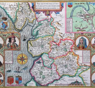 Old map of Lancastershire by John Speed, 1610